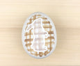 Brown Plaid Ceramic Easter Egg