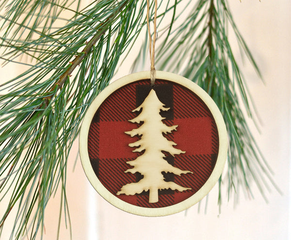 Christmas Tree Buffalo Check Plaid Ornament