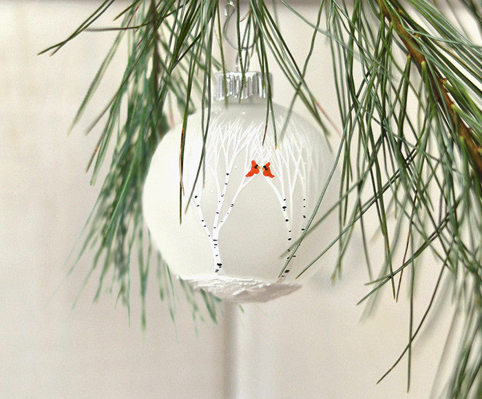 Birch trees and cardinals ornament for couples