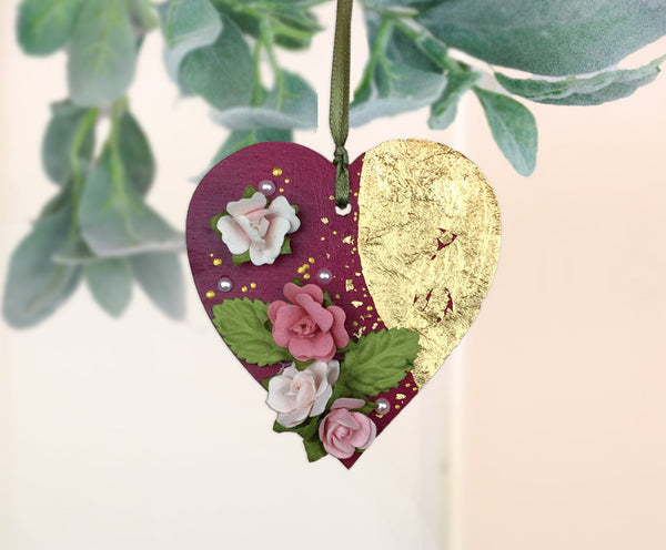 Wine red Valentines Day flowers Heart ornament