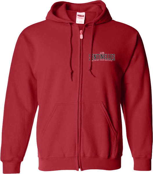 Sentinelles Adult Cotton Full Zip Hooded Sweatshirt with Embroidered Left Chest & Personalization