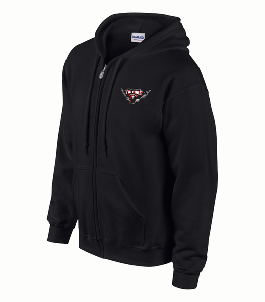 Falcons Youth Zip Hooded Sweatshirt with Full Embroidered Logo