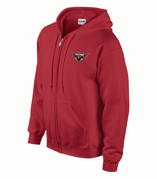 Falcons Adult Zip Hooded Sweatshirt with Full Embroidered Logo