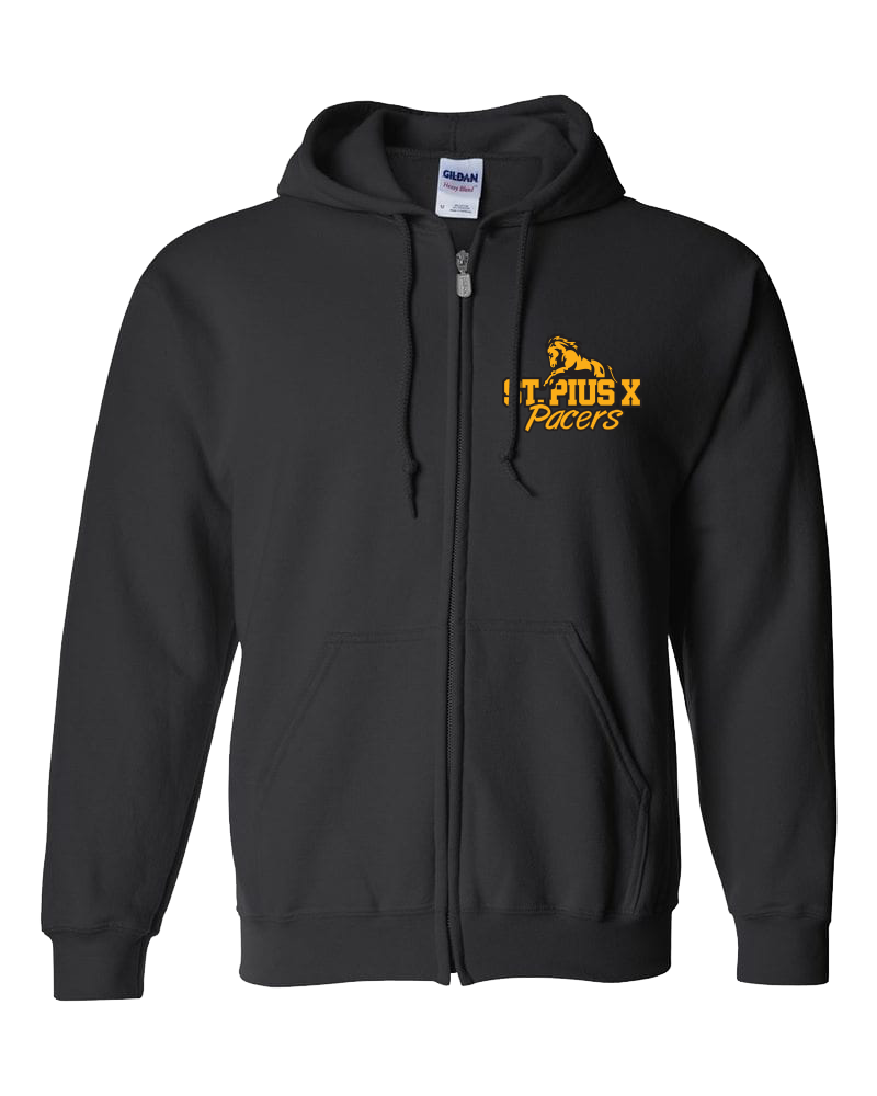 Pacers Staff Adult Cotton Full Zip Hooded Sweatshirt with Embroidered Left Chest & Personalization