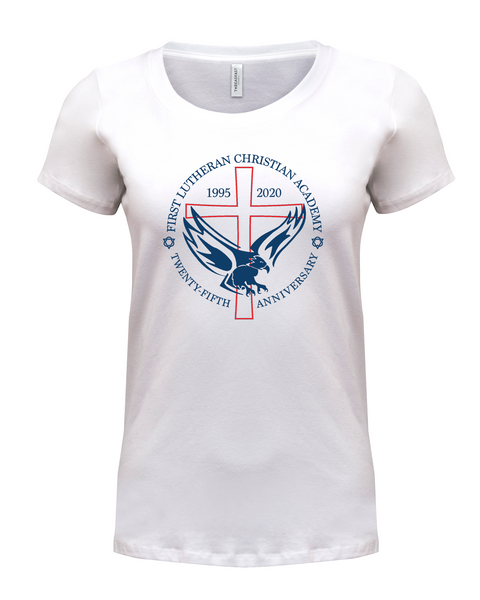 Ladies 25th Anniversary Stretch Scoop Short Sleeve with Printed Logo