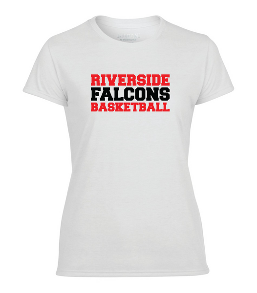 "Falcons Ladies ""Basketball"" Performance T-Shirt with Printed logo"