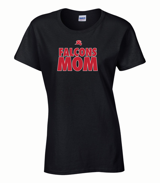 """Falcons Mom"" Ladies Cotton T-Shirt with Printed logo"