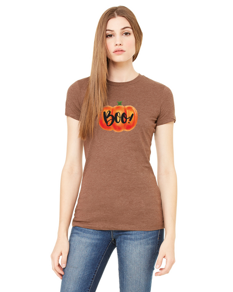 Boo! Pumpkin Ladies Short-Sleeve T-Shirt