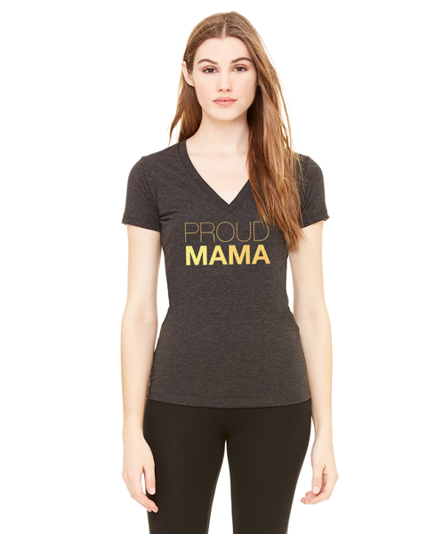 Proud Mama Triblend Deep V-Neck T-Shirt