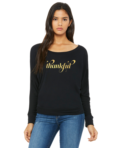 Thankful Ladies Long-Sleeve Off Shoulder T-Shirt