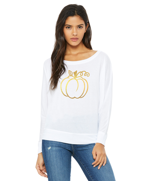 Pumpkin Ladies Long-Sleeve Off Shoulder T-Shirt
