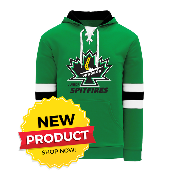 Windsor Minor Hockey Green Lace Hoodie with Embroidered Applique logo