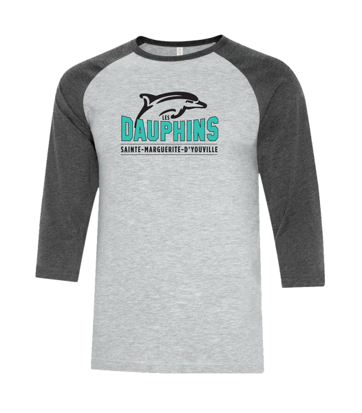 Dauphins Adult Two Toned Baseball T-Shirt with Printed Logo