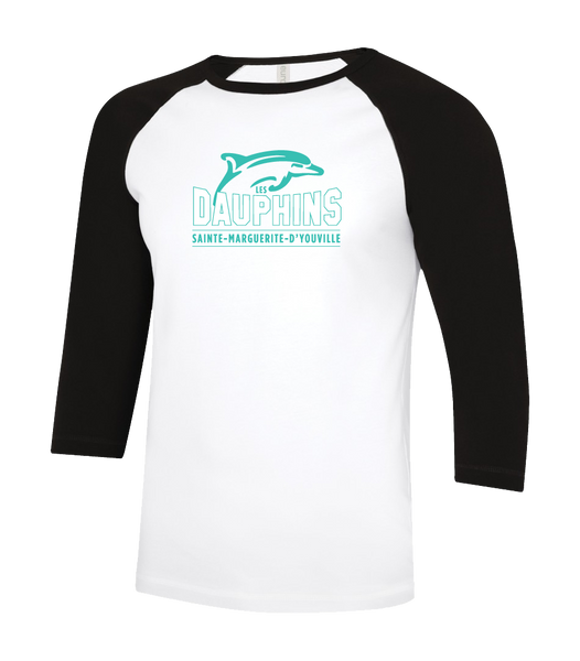 Dauphins Youth Two Toned Baseball T-Shirt with Printed Logo