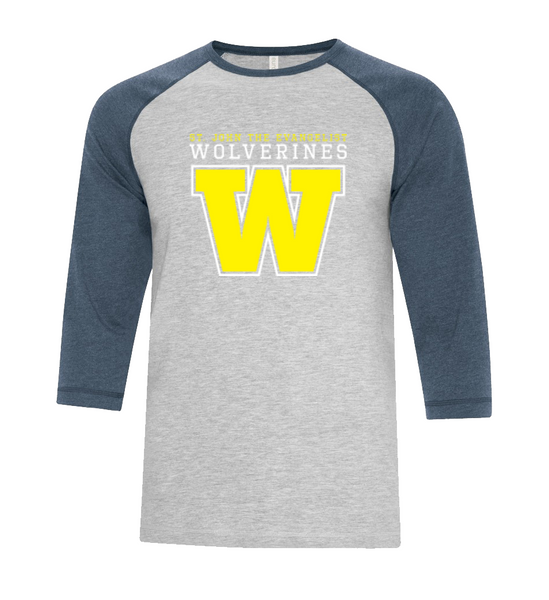 Wolverines Youth Two Toned Baseball T-Shirt with Printed Logo