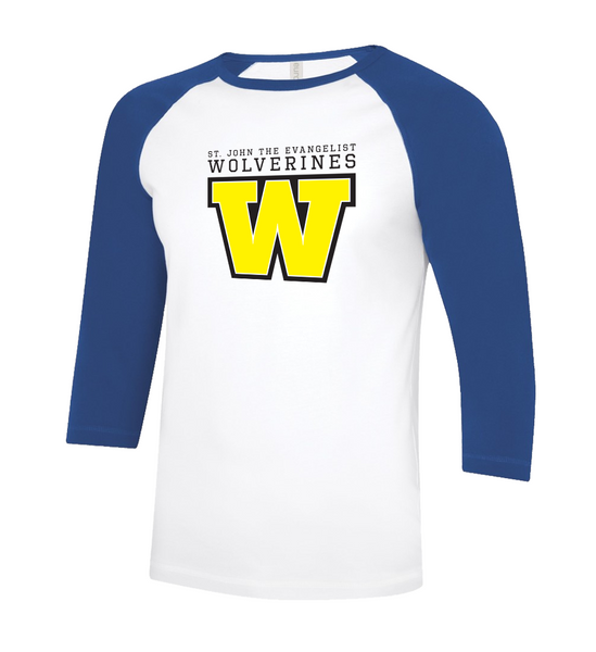 Wolverines Adult Two Toned Baseball T-Shirt with Printed Logo