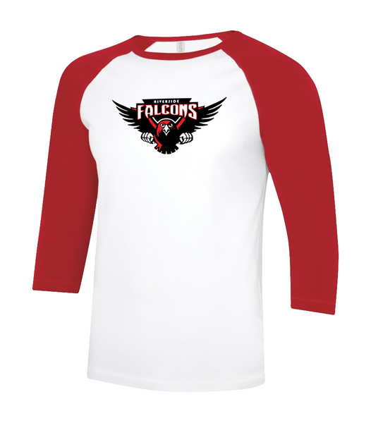 Falcons Adult Two Toned Baseball T-Shirt with Printed Logo