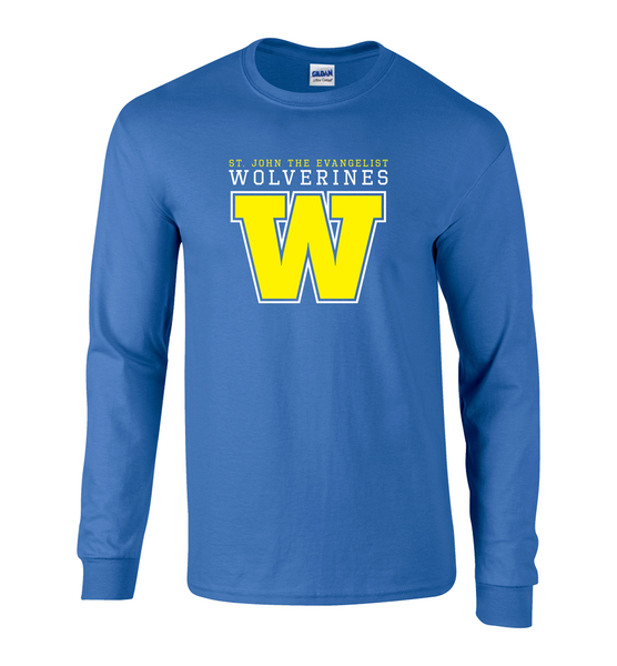 Wolverines Adult Cotton Long Sleeve with Printed Logo