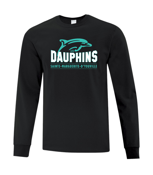 Dauphins Adult Cotton Long Sleeve with Printed Logo
