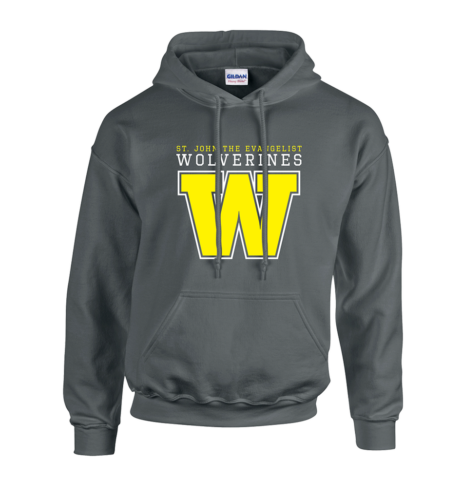 Wolverines Staff Adult Cotton Hooded Sweatshirt with Embroidered Applique Logo & Personalized Left Sleeve