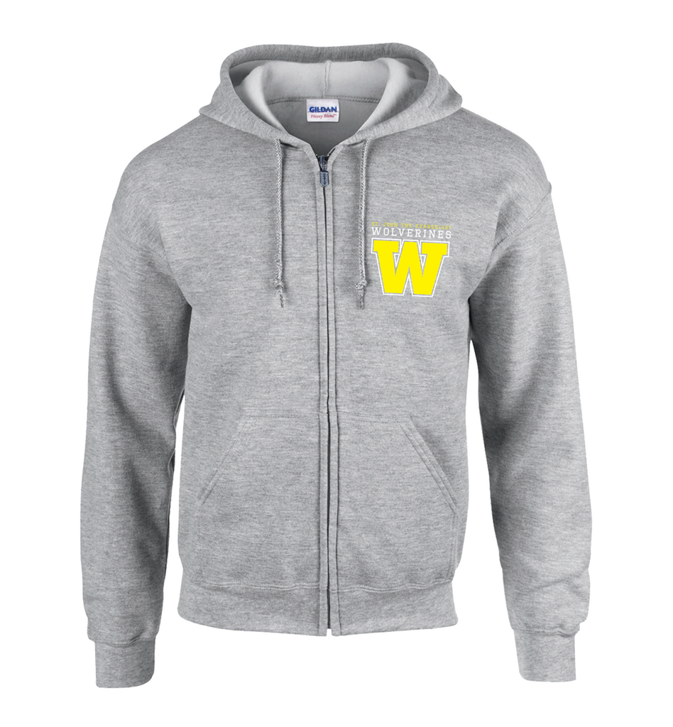 Wolverines Staff Adult Cotton Full Zip Hooded Sweatshirt with Personalized Left Sleeve
