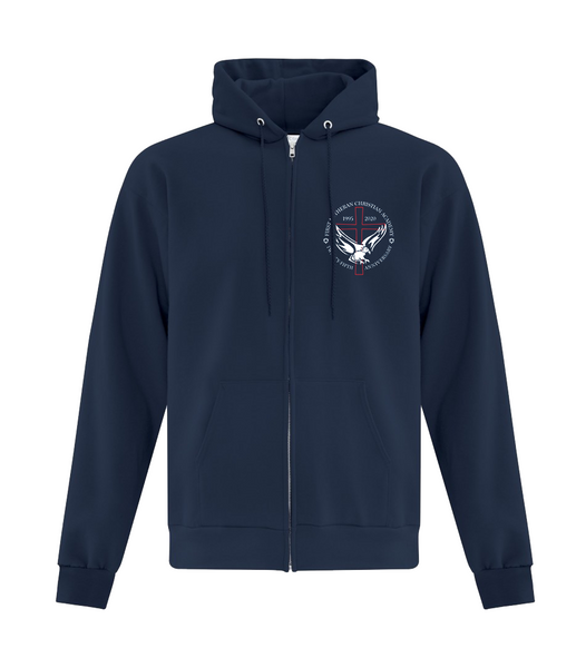 Adult 25th Anniversary Cotton Full Zip Hooded Sweatshirt with Embroidered Logo with Personalized Lower Back