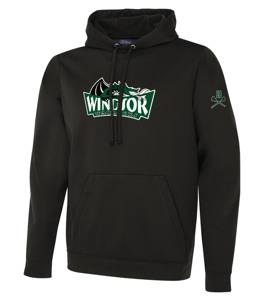 Warlocks Ladies Dri-Fit Hoodie with Embroidered Applique & the Number on a Sleeve
