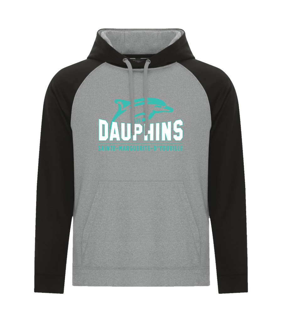 Dauphins Adult Two Toned Hoodie with Embroidered Applique Logo