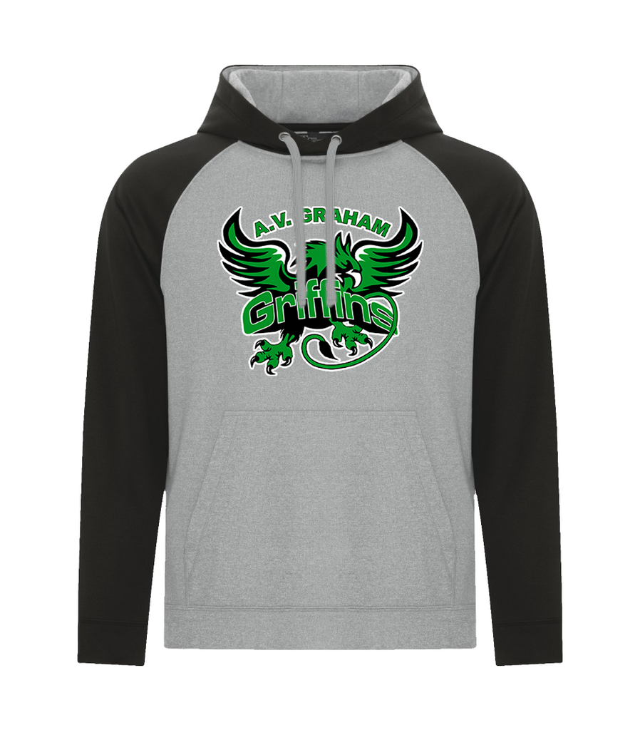 Griffins Adult Two Toned Hoodie with Embroidered Applique Logo & Personalized Lower Back