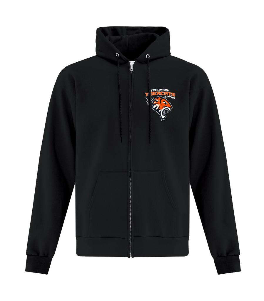 Tiger Cats Adult Cotton Full Zip Hooded Sweatshirt with Embroidered Left Chest & Personalization