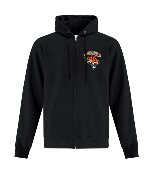 Tiger Cats Youth Cotton Full Zip Hooded Sweatshirt with Embroidered Left Chest & Personalization