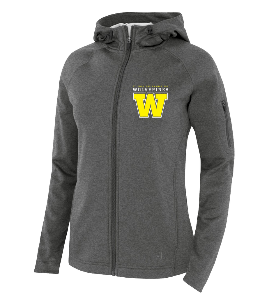 Wolverines Staff Ladies Hooded Yoga jacket with Embroidered Logo & Personalized Left Sleeve