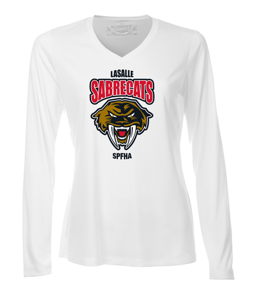 Sabrecats Dri-Fit Long Sleeve Ladies V-Neck Tee with Full Colour Printing