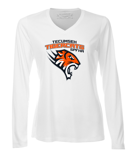 Tiger Cats Dri-Fit Long Sleeve Ladies V-Neck with Full Colour Printing