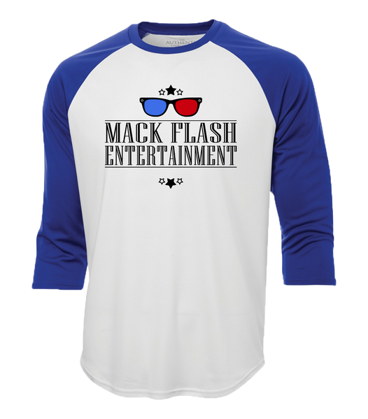 """Mack Flash Entertainment"" Adult Cotton Baseball Shirt"