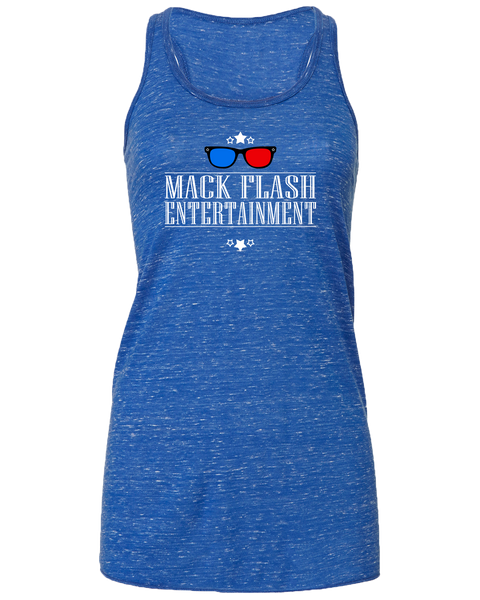"""Mack Flash Entertainment"" Ladies' Flowy Racerback Tank with Printed logo"