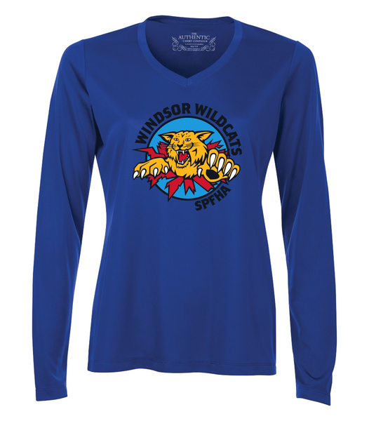 Wildcats Dri-Fit Long Sleeve Ladies V-Neck Tee with Full Colour Printing