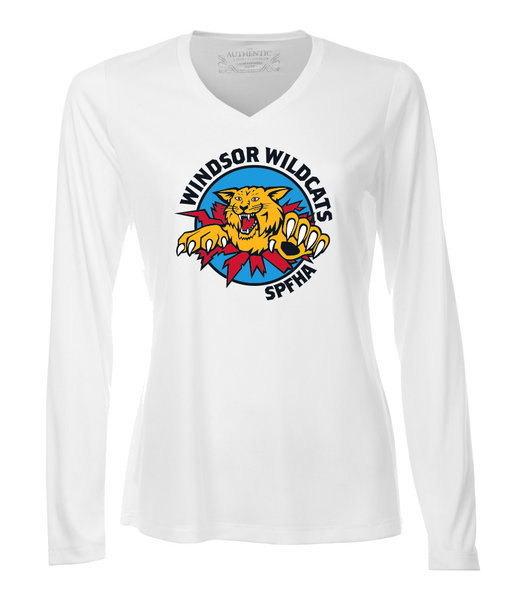 Wildcats Hockey Dri-Fit Long Sleeve Ladies V-Neck Tee with Full Colour Printing