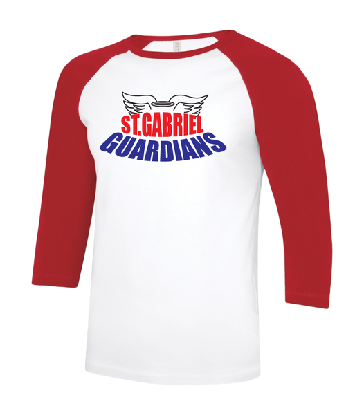 Guardians Adult Two Toned Baseball T-Shirt with Printed Logo