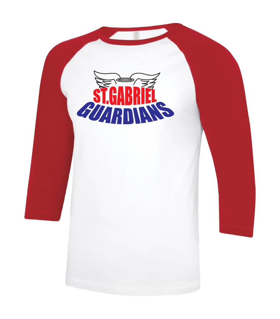 Guardians Youth Two Toned Baseball T-Shirt with Printed Logo