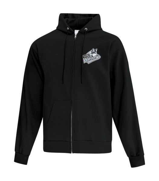 Wolves Cotton Full Zip Hooded Sweatshirt with Left Chest Embroidered Logo ADULT