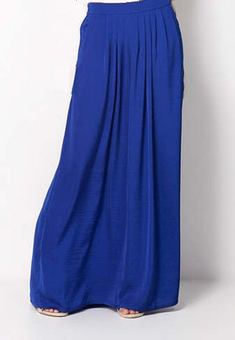 BLUE PLEAT FRONT SKIRT