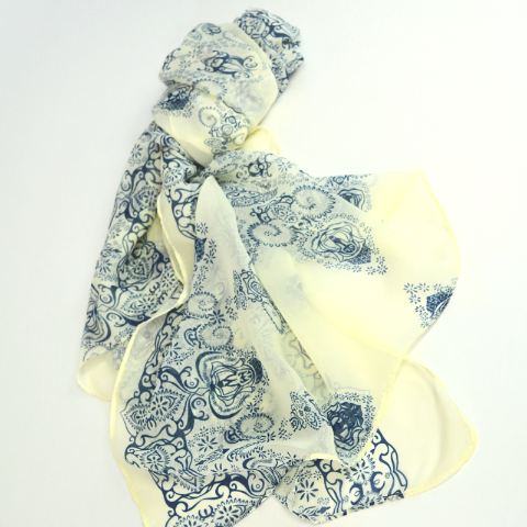 Poly Print hijab scarf Cream n Navy Blue