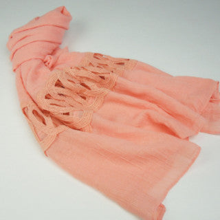 Peach Open Lace Hijab Scarf