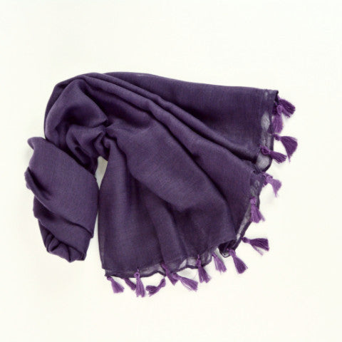 Tassel Hijab Scarf Deep Purple