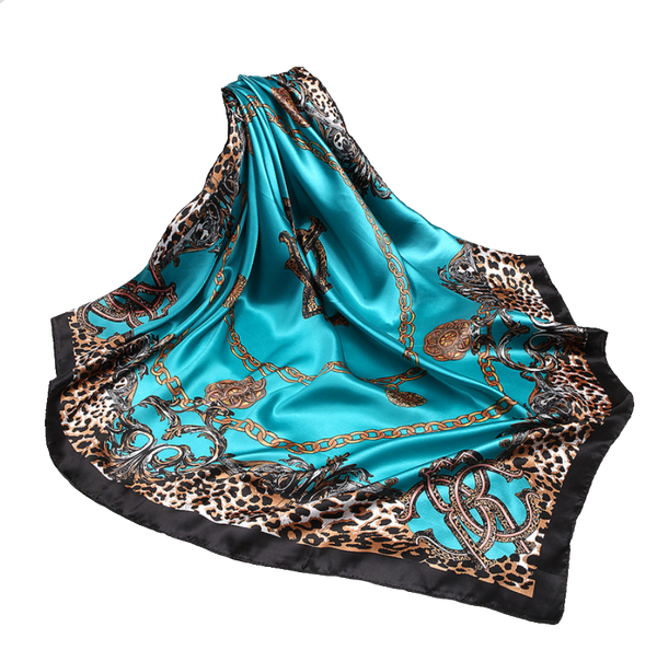 Square Leopard Accented Hijabs - 3 Colors