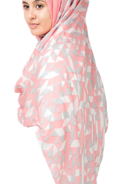 Soft Pink Hijab with Geometric Print