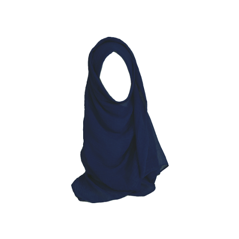 Royal blue oblong crinkle hijab scarf