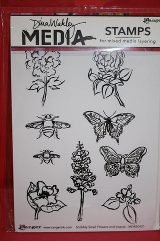 Ranger/Dina Wakley Media Scribbly Small Flowers and Insects MDR50421