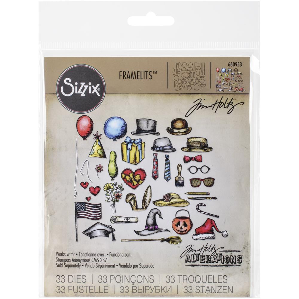 Sizzix Framelits Dies 33/Pkg By Tim Holtz - Crazy Things Dies
